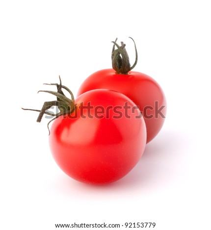 Small cherry tomato on white background close up - stock photo