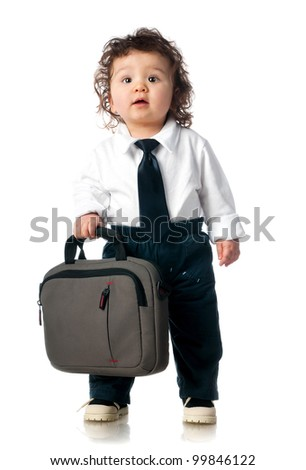 small child dressed in a business with a bag
