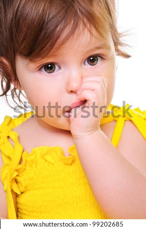 small child holding a finger in his mouth. studio photos. Close-up portrait. isolated on white