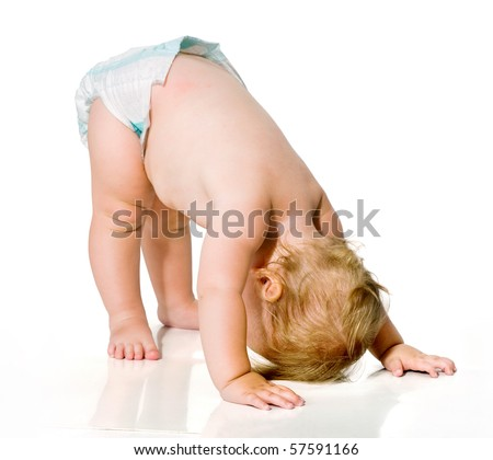 small child learning to walk.first steps.image on white background. toddler.