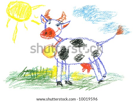 Small child painting the cow with coloured pencils