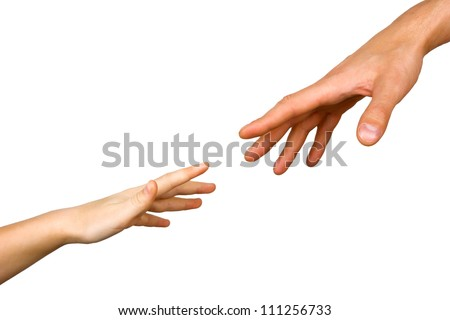 small child's hand reaches for the big hand man isolated on white background
