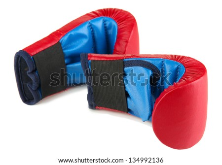 Small children boxing gloves isolated on white