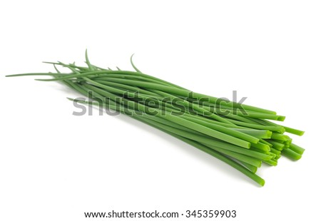 small  Chives bunch  isolated on white background Foto stock ©