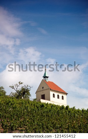 Small christian chapel on the vineyard hill on the outskirts of Prague