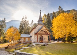 Small church in Countryside in the fall background.