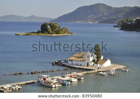 Small church in region of Pontikonisi. Famous tourist place on Corfu.