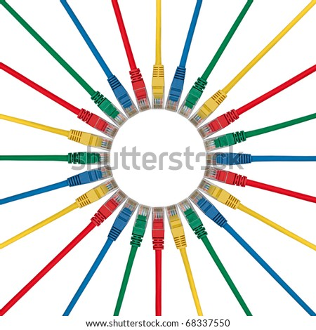 Small Circle of Colored Ethernet Network connection cables plugs isolated on white background