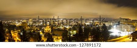 Small city skyline panorama