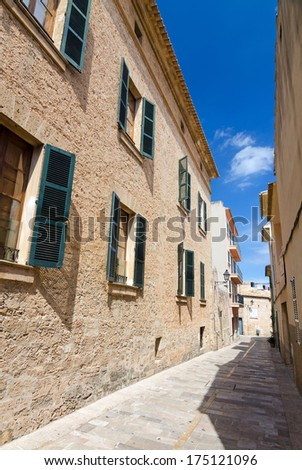 Small city street in Alcudia city