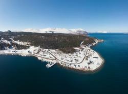 Small coastal town in winter