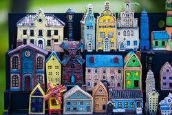 Small colorful toy houses. Fabulous city.