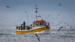 Small commercial fishing boat.