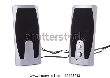 Small computer speakers isolated on a white background