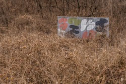 Small concrete building painted in camouflage colors in dense mountainside bush.