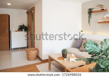Small Condominium Interior Design Minimal japan design white and wood bedroom and sofa area