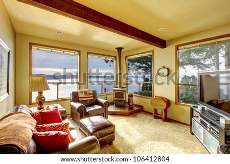 Small Cozy Living Room With Tv And Water View Stock Photo 106412804