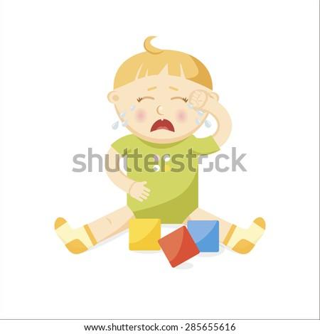 Small crying baby.Cartoon Illustration