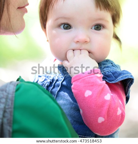 free photos small cute baby girl with pretty face and funny eyes