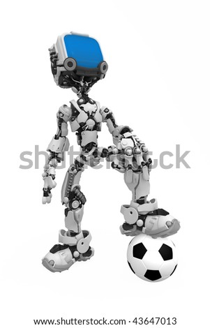 Small 3d robotic figure with a soccer ball, over white, isolated