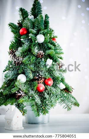 small decorated christmas tree isolated on white background 775804051 - Small Decorated Christmas Trees