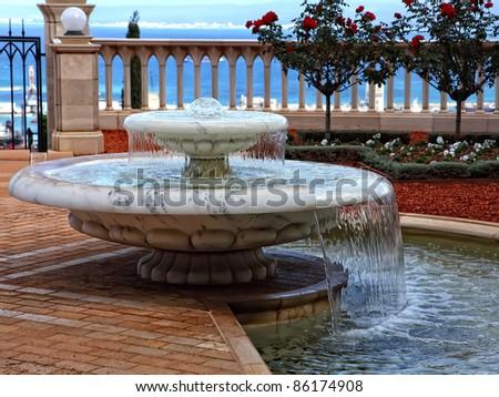 Small decorative fountain in a Bahai Gardens, Haifa, Israel