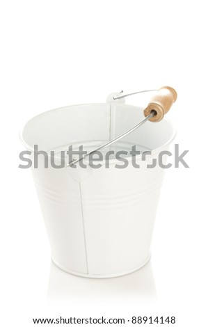 small decorative white bucket isolated on white background