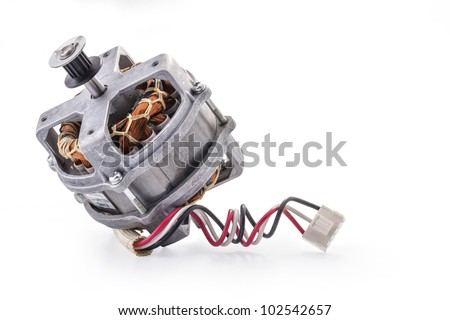 Small electric motor on white background, closeup, with clipping paths - stock photo