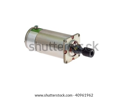 Small electric motor with gear bolted to it on a white for Small electric motor gears