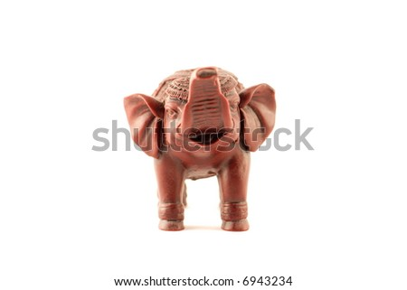 small elephant on a white background