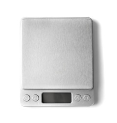 Small empty electronic jewelry scales isolated top view. Digital kitchen weight mockup, cooking scale with copy space