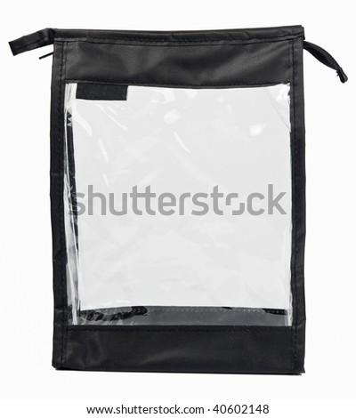 Small empty synthetic fabric bag with transparent side with clipping paths