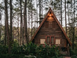 Small European-style resort wooden house or wooden hut in a pine forest in Chiang Mai, Thailand, in an environment similar to Europe or Canada.