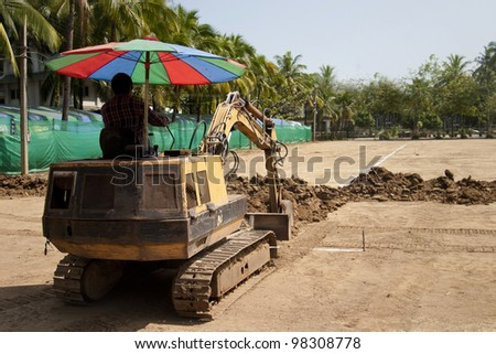 Small excavator for work  of lay water pipe