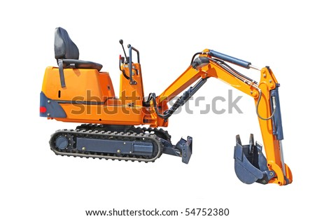 Small excavator of orange colour isolated on the white