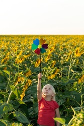 Small, fair-haired boy stands among field of sunflowers and raised windmill toy high above his head
