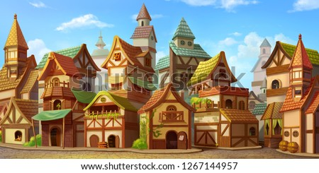 Small Fairy Tale Town. Fiction Backdrop. Concept Art. Realistic Illustration. Video Game Digital CG Artwork. Industry Scenery.
