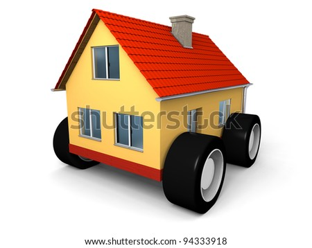 Small family house on wheels ready to move