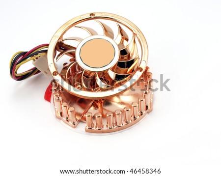 Small fan for microprocessor over white