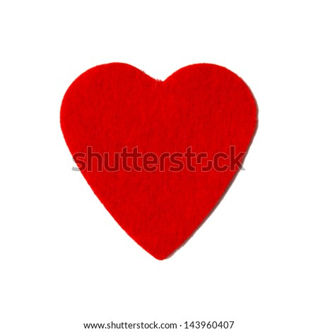 Small felt red heart isolated on a white background