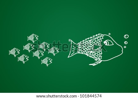 small fish eats the big Conceptual image made with drawn by hand.