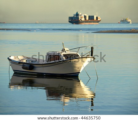 small fisherboat at the evening in Palmones, Algeciras, Andalusia, Spain