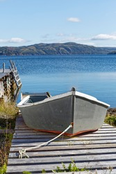 Small fishing boast on a slipway, Newfoundland and Labrador, Canada.