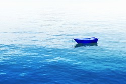 small fishing boat floating on blue sea