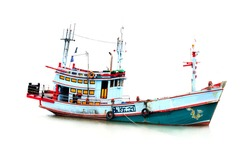 Small fishing boat isolated on white background