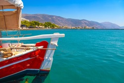 Small fishing boat off the coast of the Gulf of Corinth