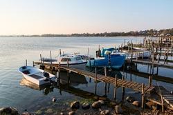 Small fishing boats in an inlet near Kolding, Denmark