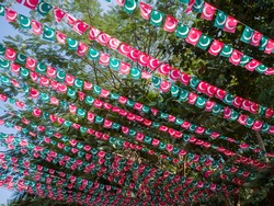 Small flags of the Indian Union Muslim League are hung over the streets of Goa. India.