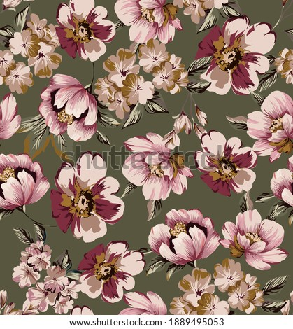 Small flowers colorful rose peony cherry blossoms seamless pattern wallpaper texture repeated, with vintage leaves leaf on military color background.
