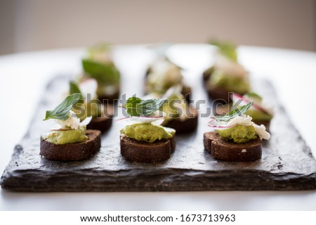 Small food platter canapé snack Photo stock ©
